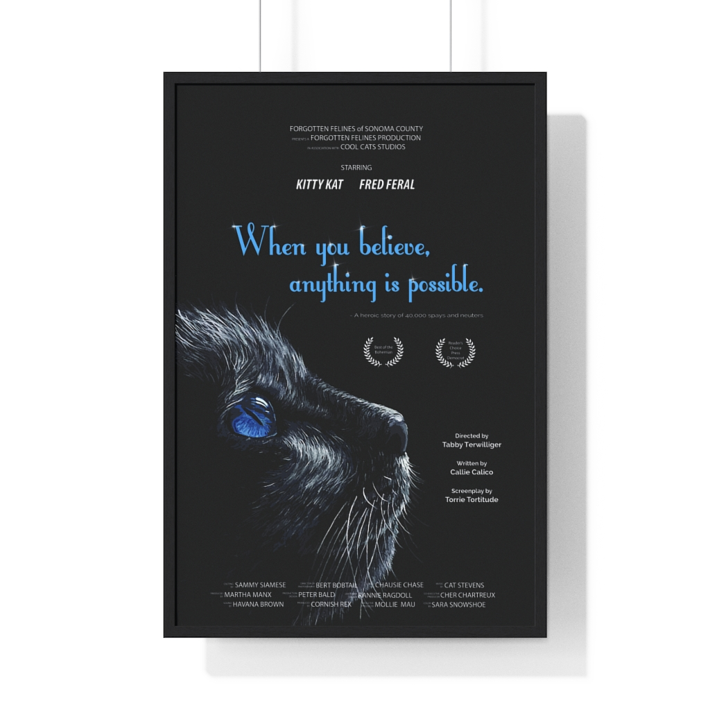 "Forgotten Felines Presents ""When you believe, anything is possible"" Movie Poster"
